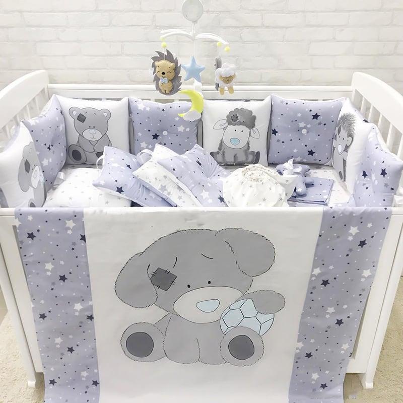 Бортики в ліжечко для хлопчика Плюшевий Ведмедик
