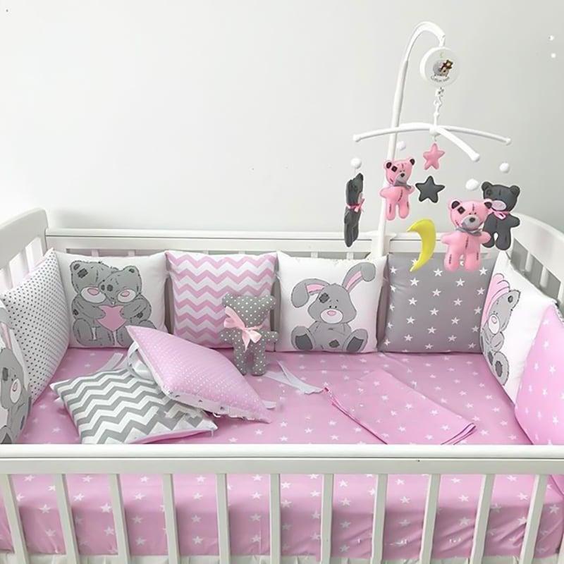 Бамперы подушки в кроватку для девочки Розовая Сказка