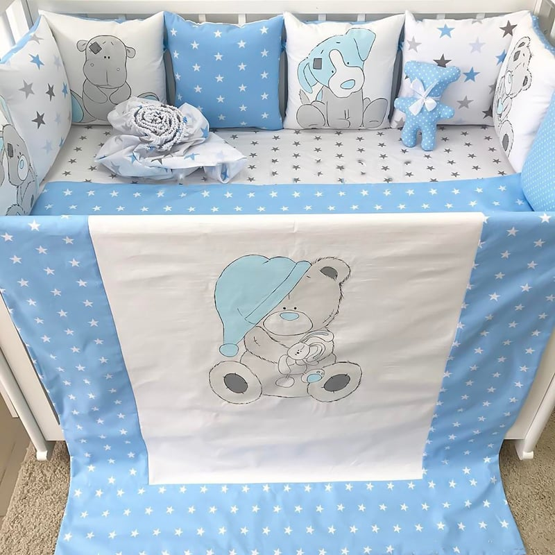 Бамперы подушки в кроватку для мальчика Сказка На Ночь