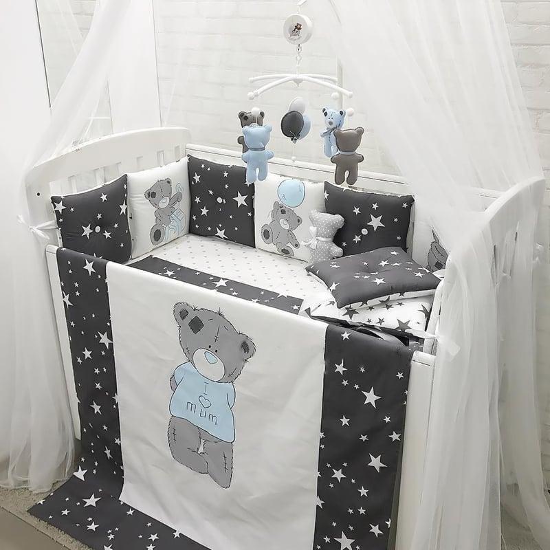 Бортики в ліжечко для хлопчика Мій Ведмедик