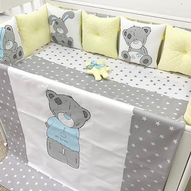Бортики в ліжечко для хлопчика Мій Ніжний Мишко