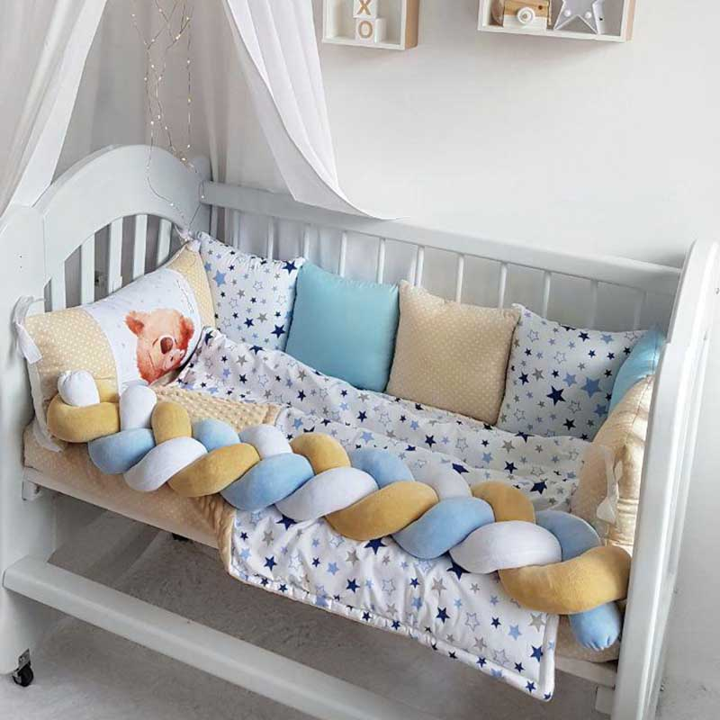 Бортики в кроватку мальчику Мамин Медвежонок