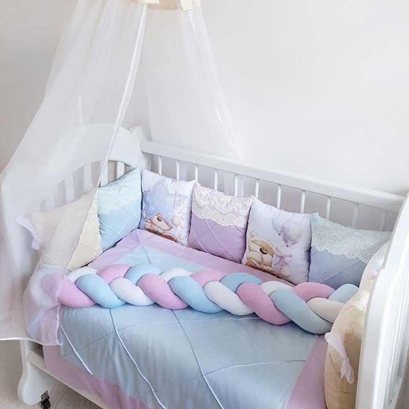 Бамперы подушки в кроватку для мальчика Нежность