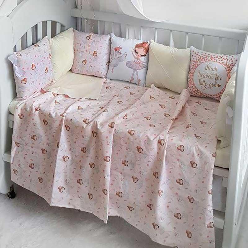 Бортики в кроватку девочке Танцы с Фламинго