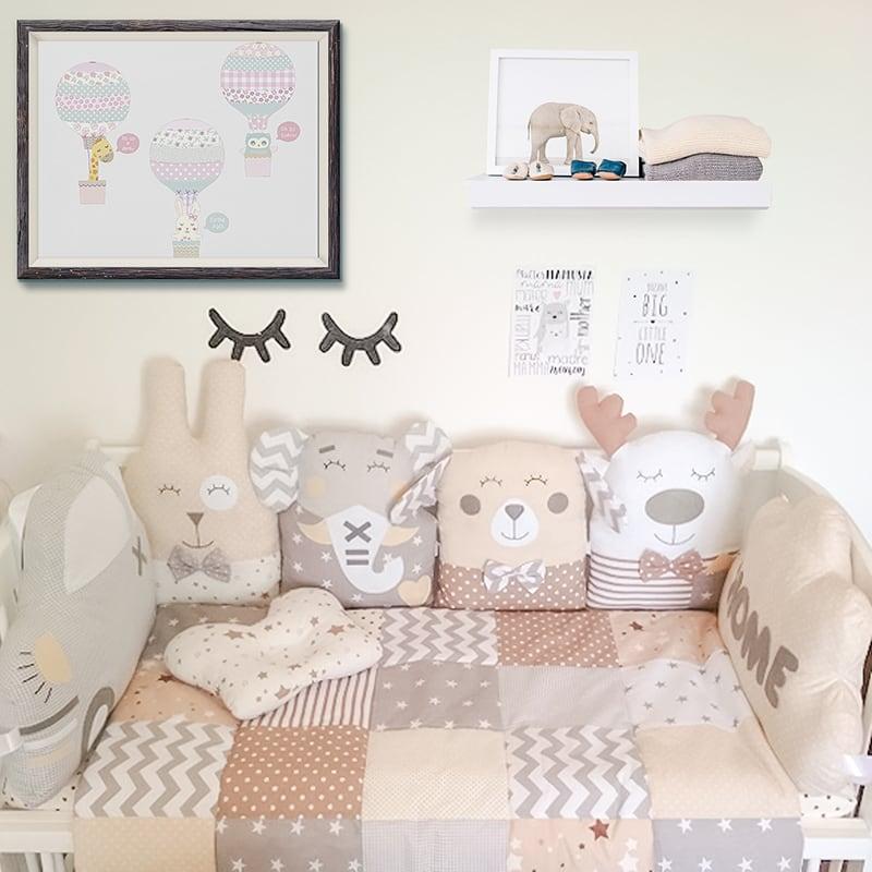 Защитные бортики в кроватку новорожденному Лунная Сказка