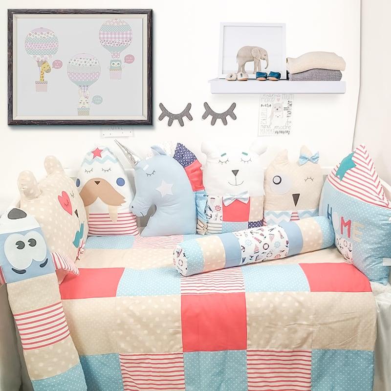 Захисні бортики в ліжечко для хлопчика Райдужний Єдиноріг