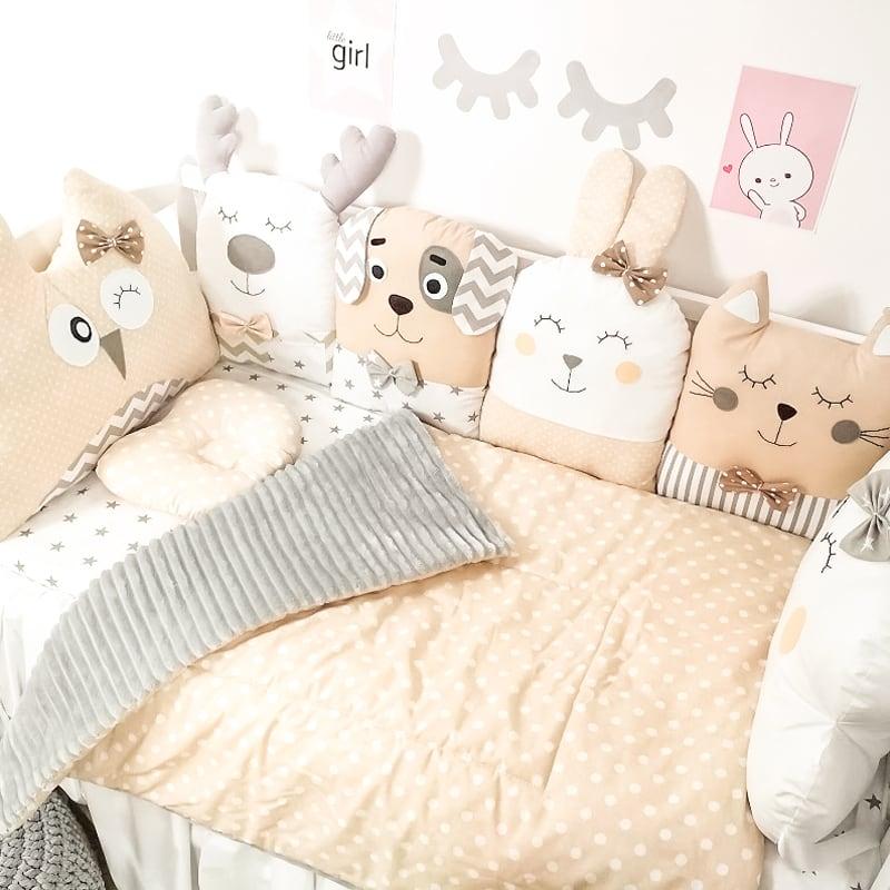 Захисні бортики на ліжечко новонародженого Бембі