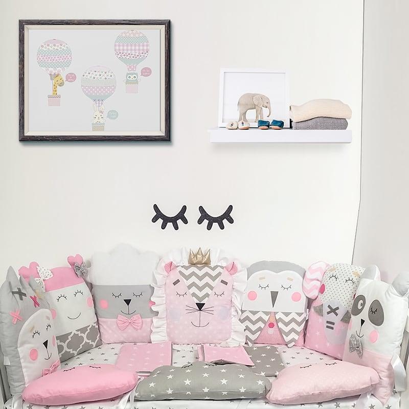 Комплект защитных бортиков в овальную кроватку девочке Лесная Фея