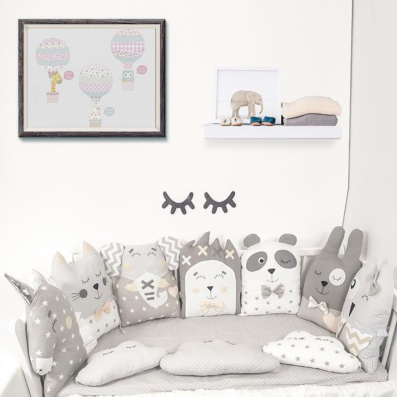 Комплект захисних бортиків в овальну ліжечко новонародженим Колискова для Сина