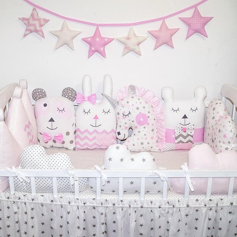 Бортики защитные в кроватку девочке Винтаж
