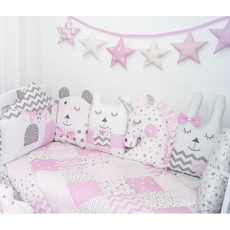 Захисні Бортики в ліжечко дівчинці Рожеві Сни