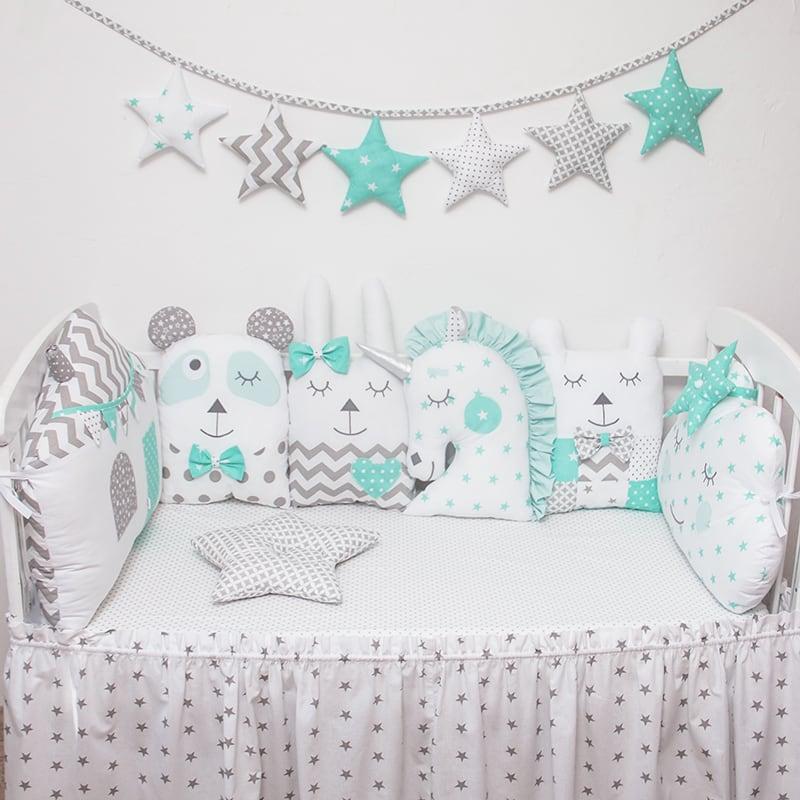 Защитные бамперы в кроватку девочке Розовый Единорог