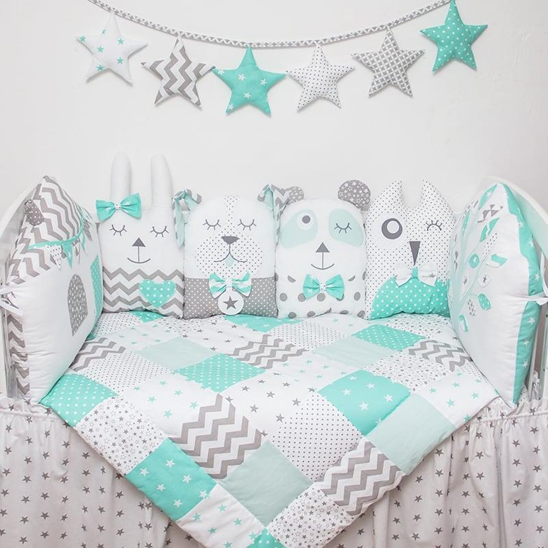 Захисні бортики в ліжечко дівчинці Безтурботність
