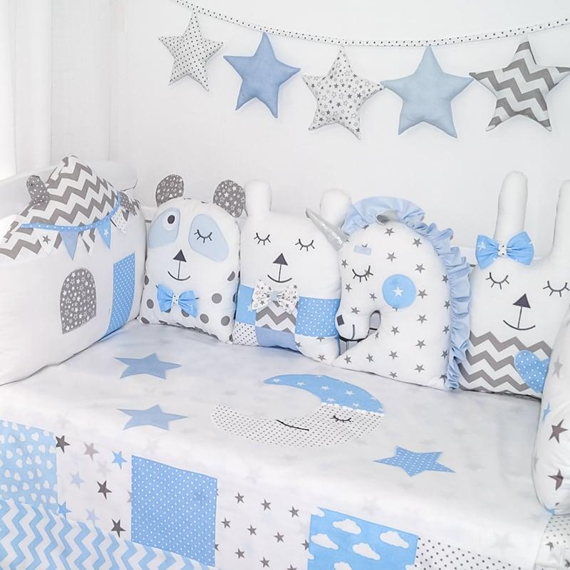 Защитные бортики в кроватку девочке Звездный Единорог