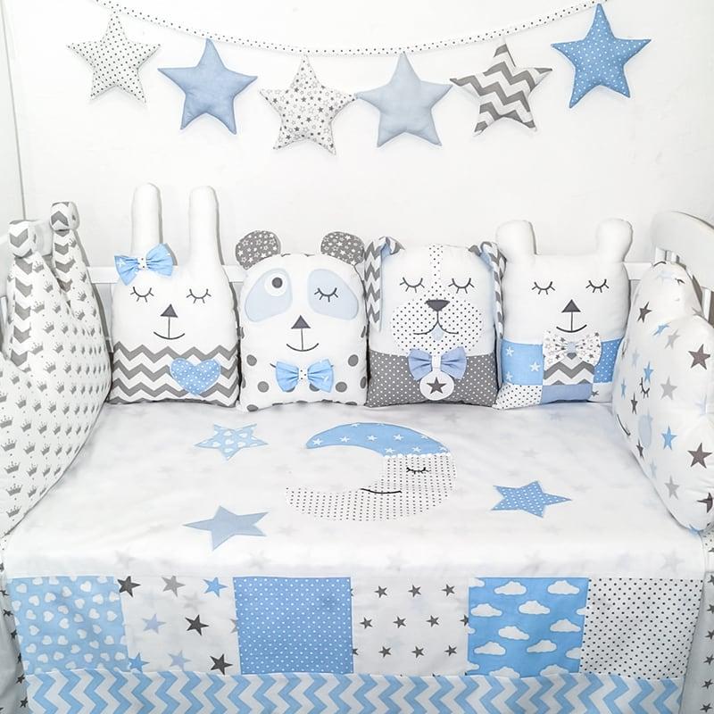Защитные бортики в кроватку для мальчика Звездный Единорог