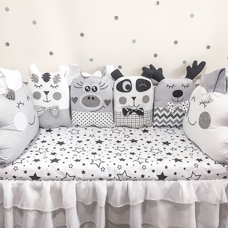 Защитные бортики в кроватку новорожденным Черно-Белые Сны