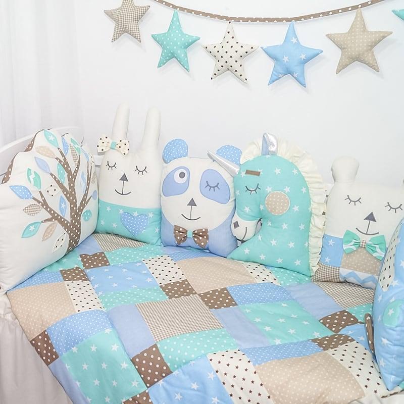 Защитные бортики в кроватку новорожденным Мои Друзья