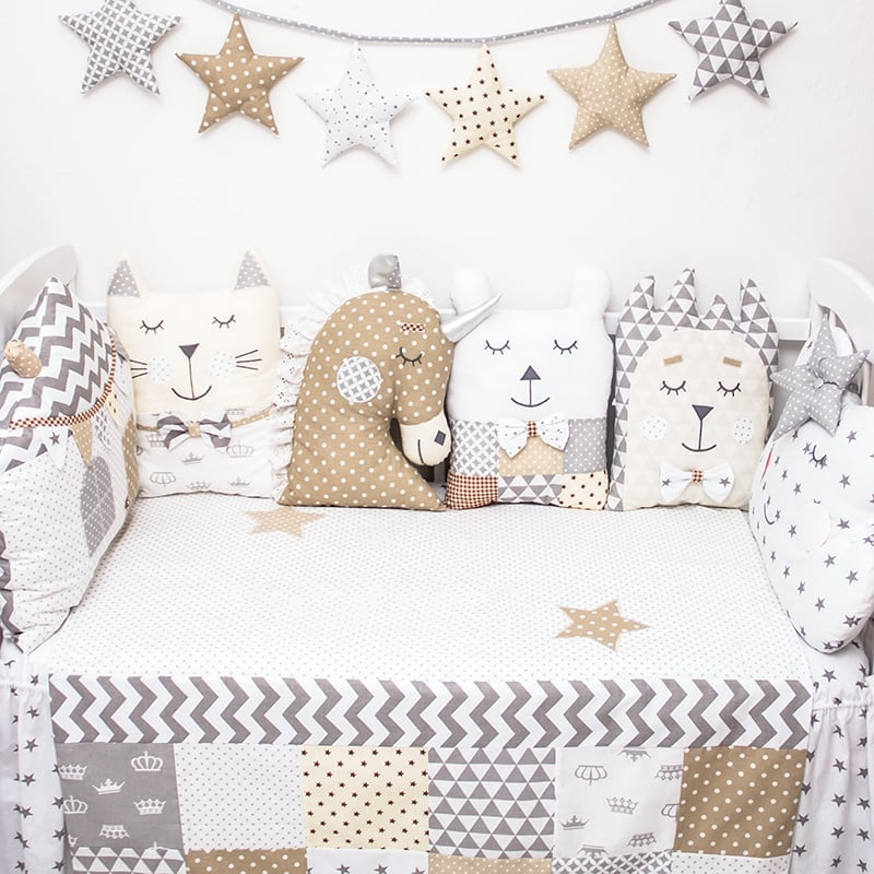 Подушки-бамперы в кроватку мальчику Хитрая Панда