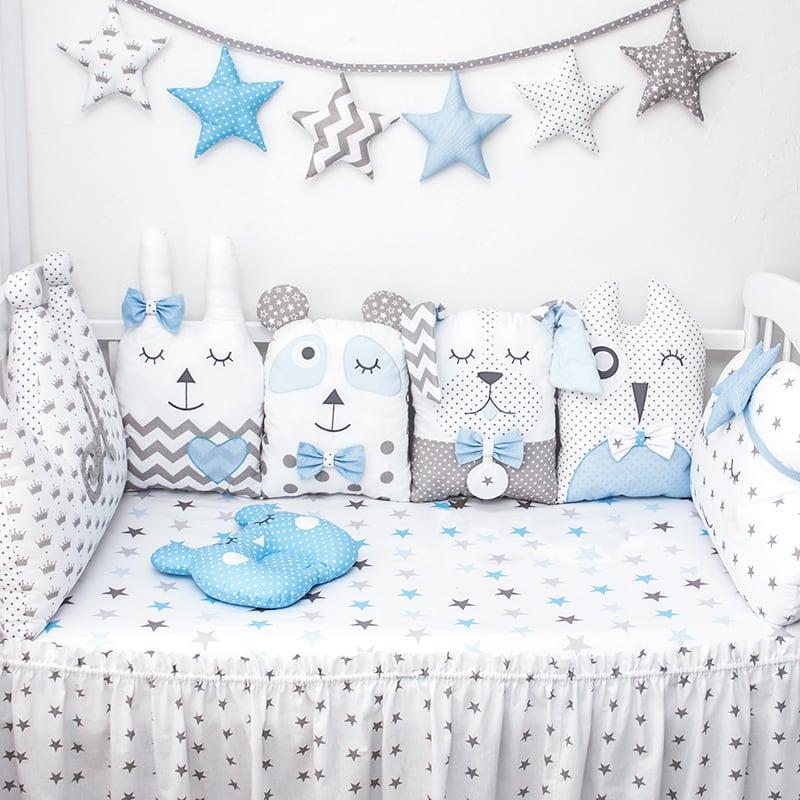 Комплект защитных бортиков на овальную кроватку девочке Принцесса и Панда