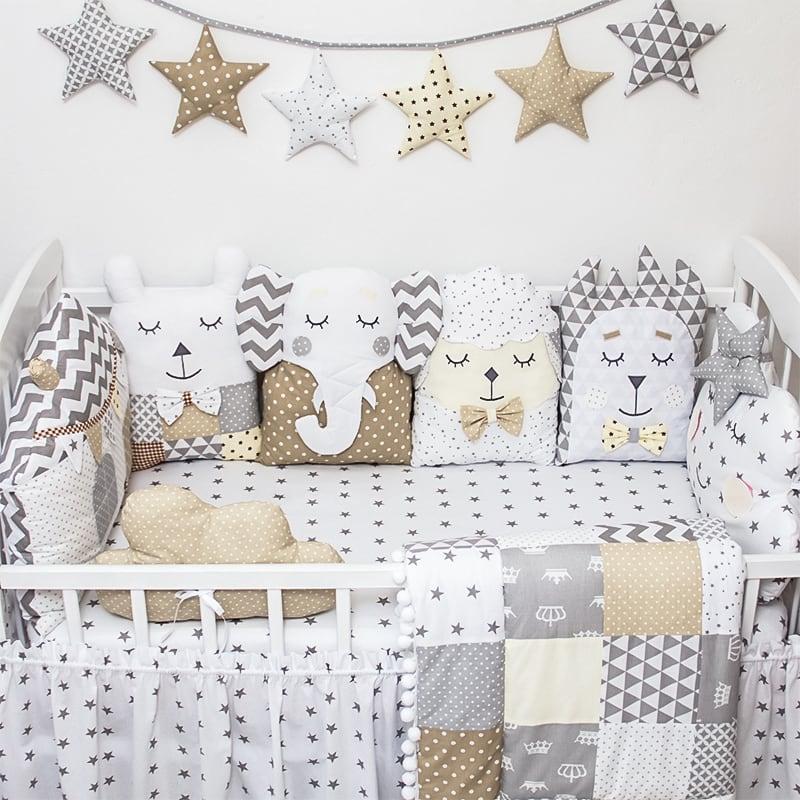 Защитные бортики в кроватку новорожденному Зимний Лес
