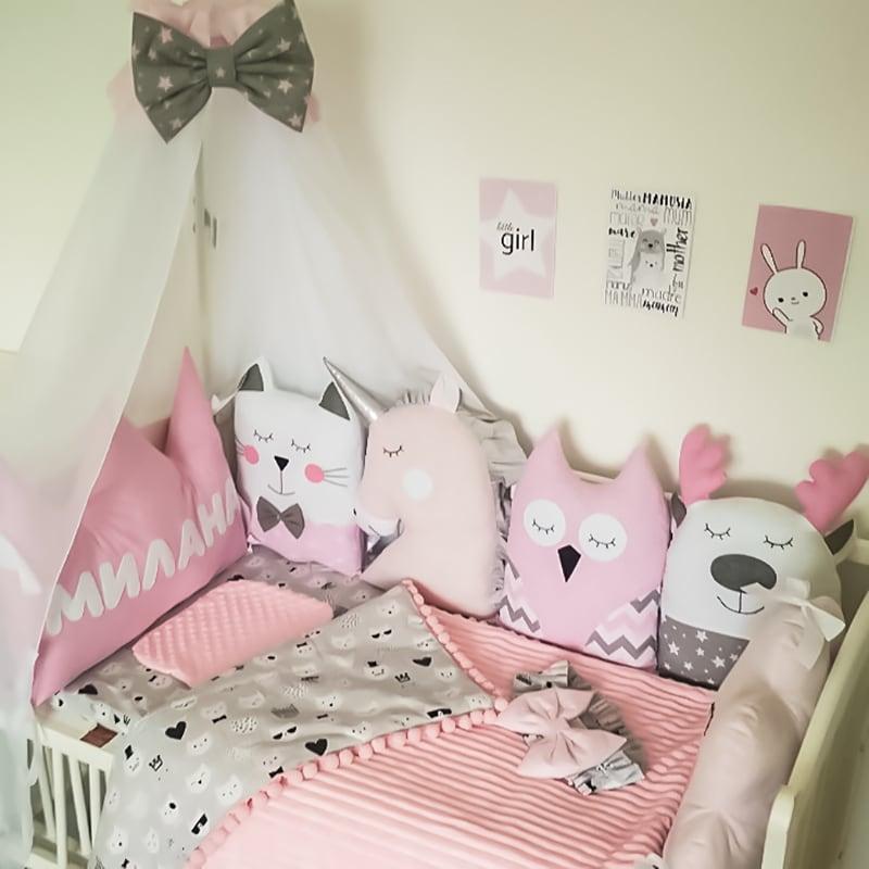 Защитные бортики в кроватку девочке Фея Роуз