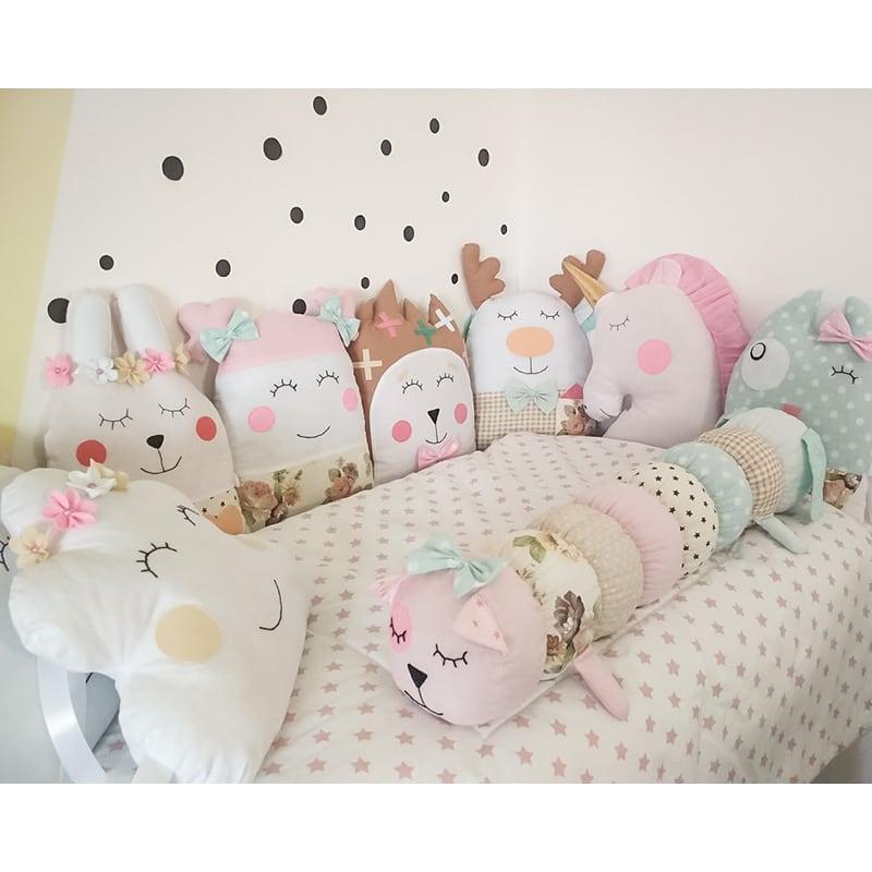Защитные бамперы-подушки в овальную кроватку девочке Лесная Колыбельная