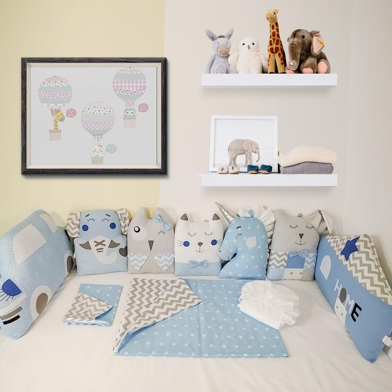 Бамперы-подушки в кроватку мальчику Лазурная Сказка