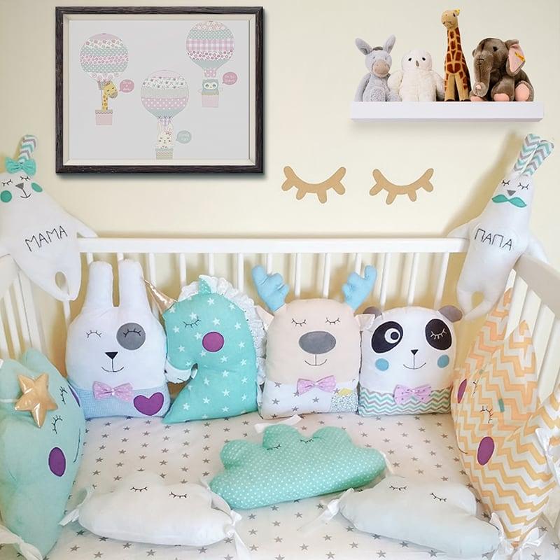 Бамперы-подушки в кроватку мальчику Лазурный Единорог