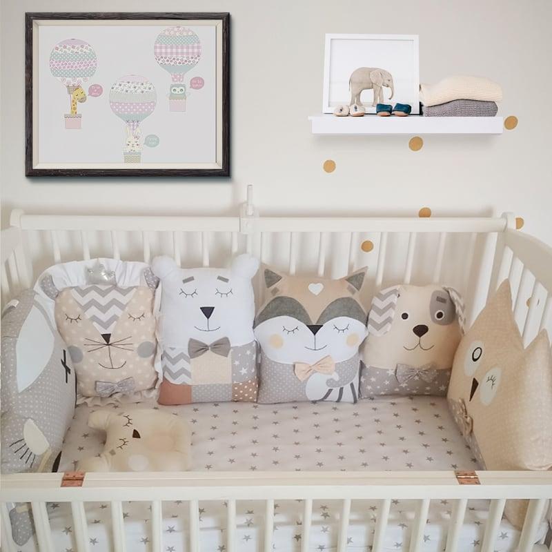 Бортики-подушки в кроватку новорожденным Хитрый Енот