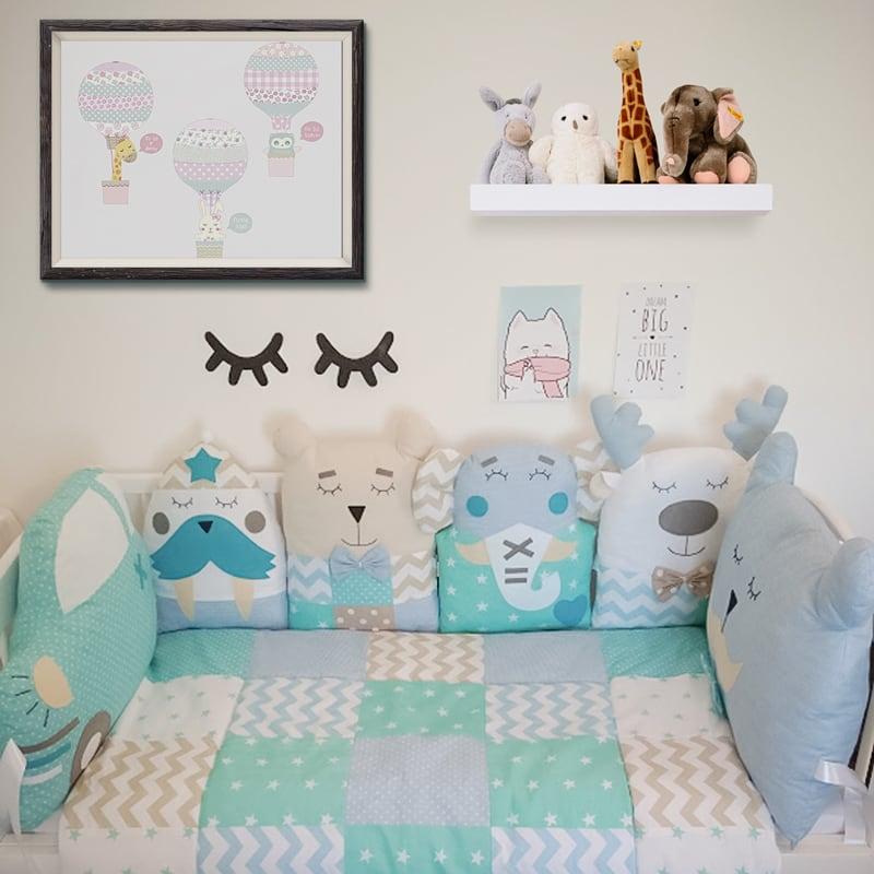 Бортики-подушки в кроватку мальчику Мятный Слоник