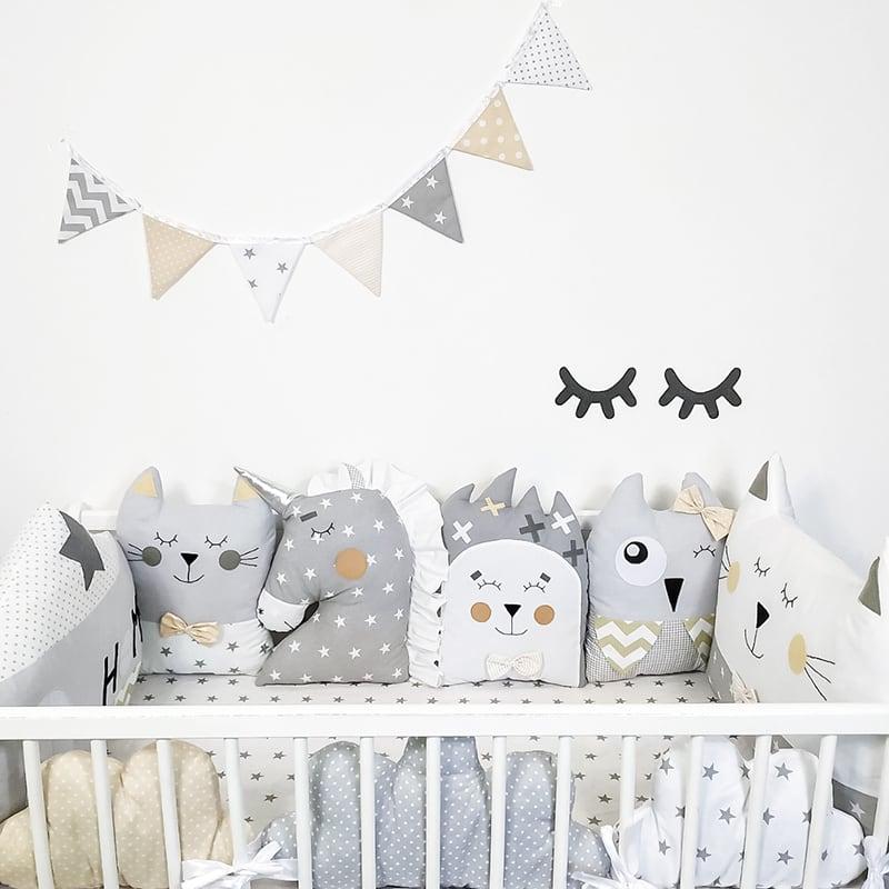 Бортики в кроватку новорожденным Серебристый Единорог
