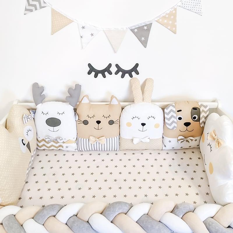 Захисні бортики в ліжечко дівчинці Веселий Зоопарк