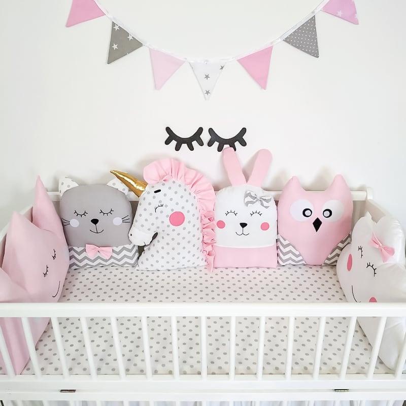 Комплект захисних бортиків в овальну ліжечко новонародженим Білий Єдиноріг