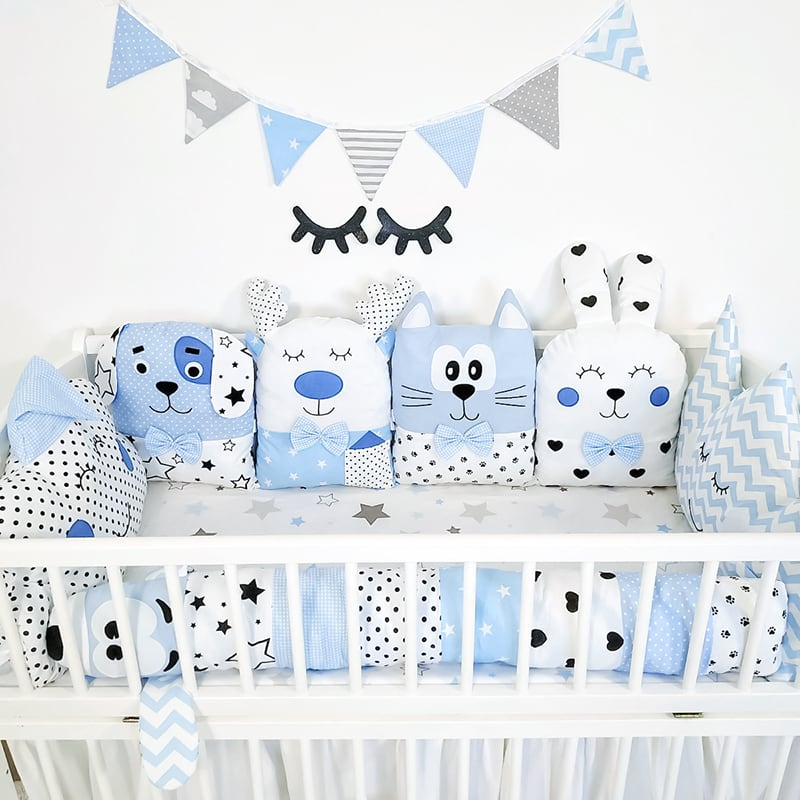Бортики в ліжечко хлопчикові Кіт-Пес