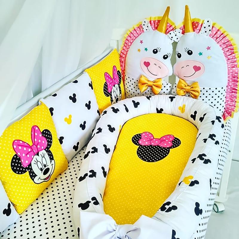 Бортики в кроватку девочке Минни и Единорог