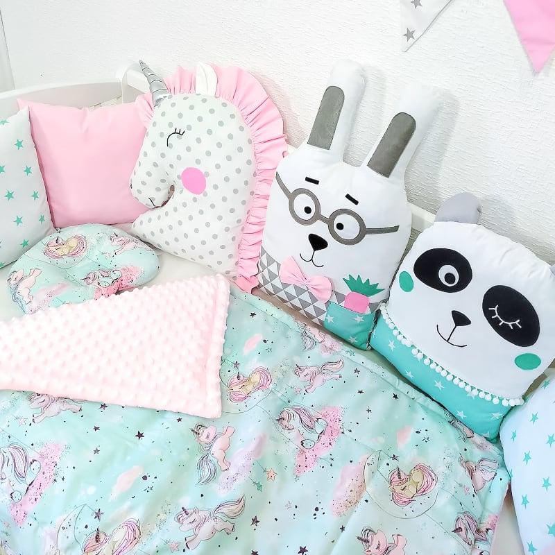 Бампери подушки на ліжечко дівчинці Рожевий Єдиноріг