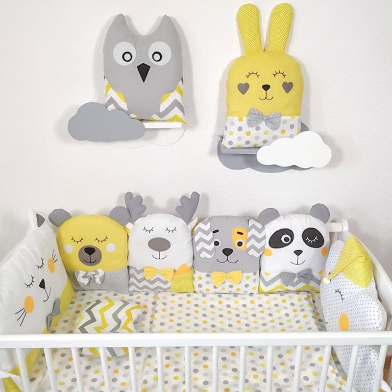 Бортики в овальную кроватку для новорожденных Дружный лес