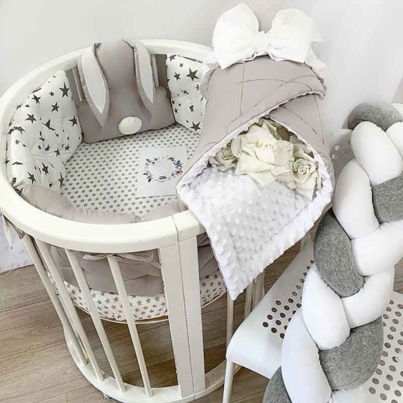 Бортики в круглую кроватку Серый Зайка