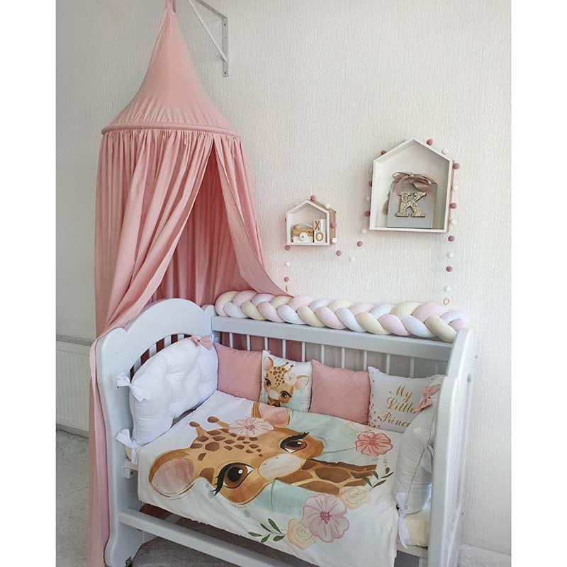 Бортики в кроватку девочке Жирафенок
