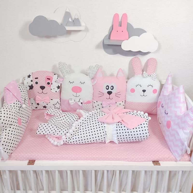 Захисні Бортики в ліжечко дівчинці Казковий Замок Принцеси