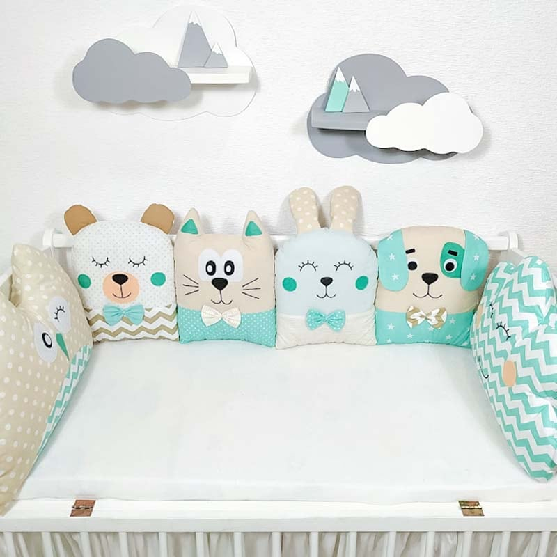 Бортики защитные в кроватку мальчику Мятные Сны