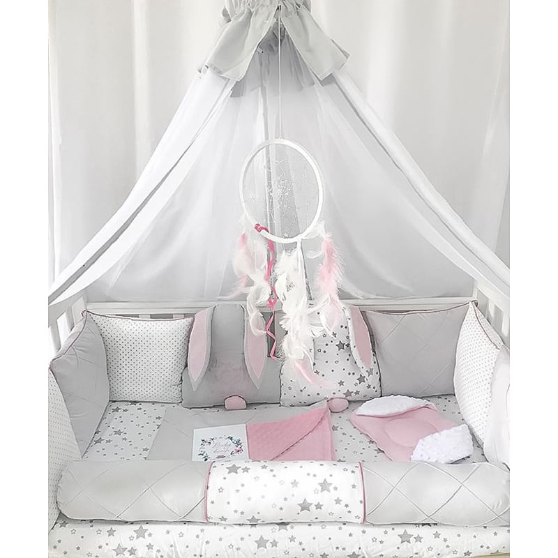 Бортики в кроватку девочке Кролики Подружки