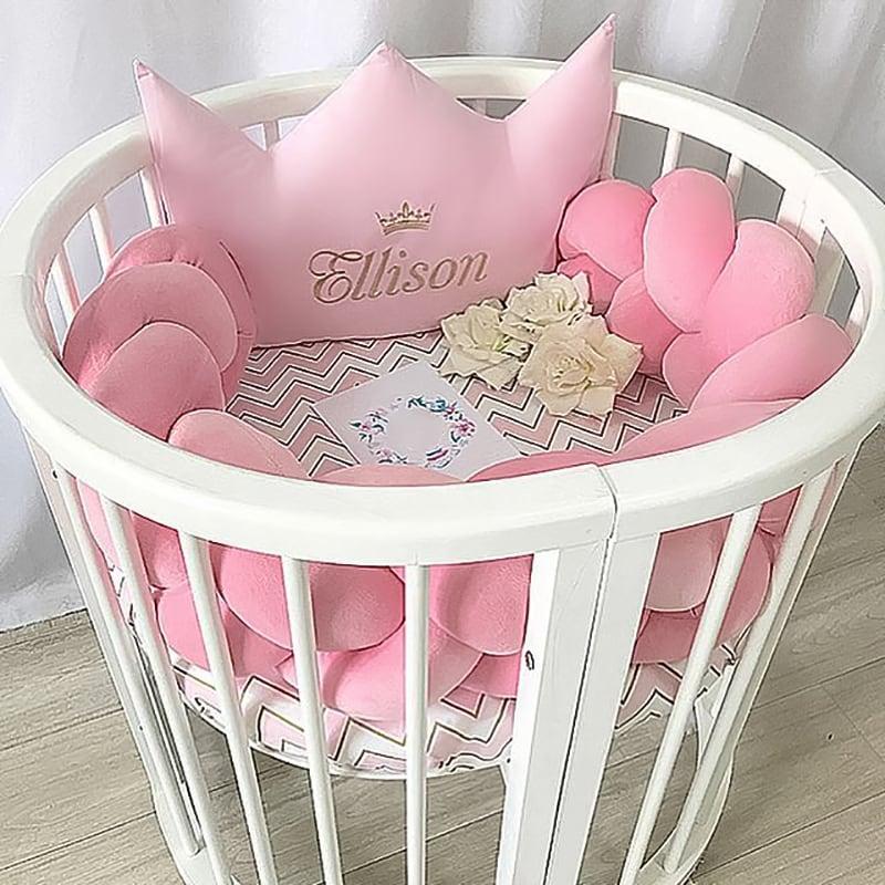 Бортики в круглую кроватку девочке Облачная Принцесса