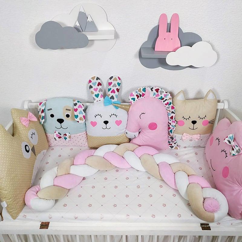 Захисні бортики в ліжечко дівчинці Фея Роуз