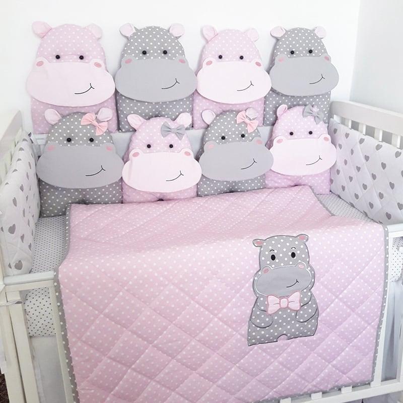 Бортики в кроватку девочке Гипопо