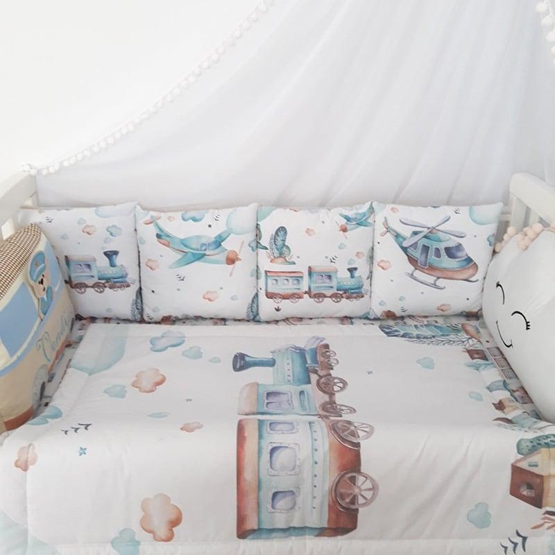Бортики в кроватку новорожденным Паровозик