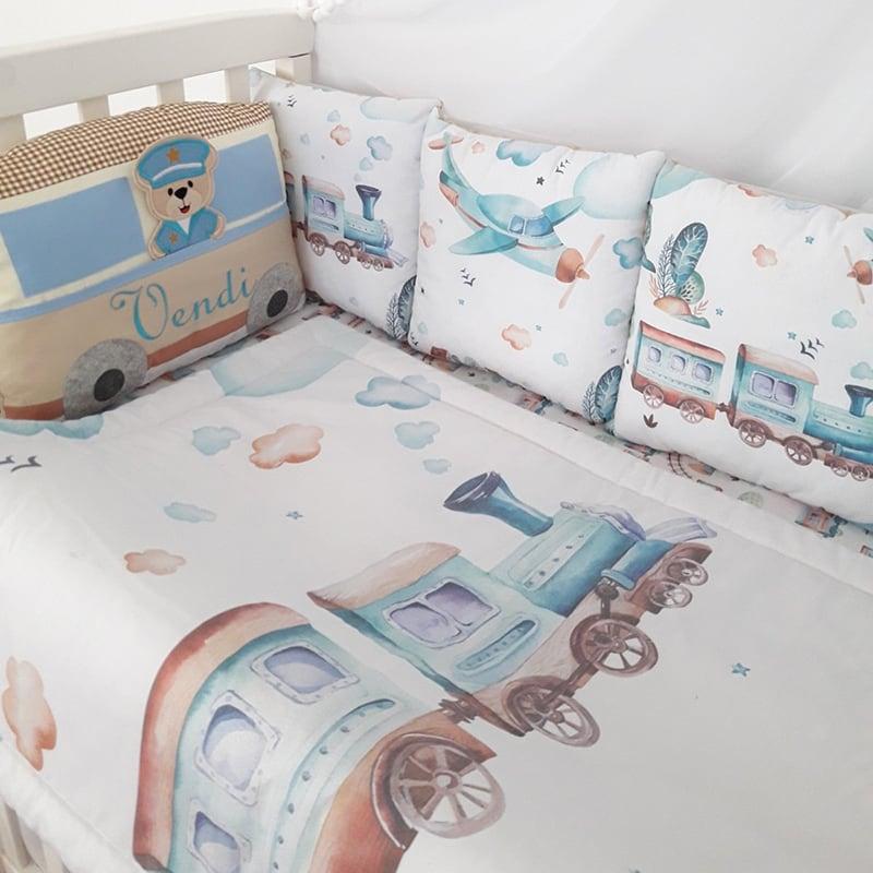 Бортики в ліжечко новонародженим Паровозик