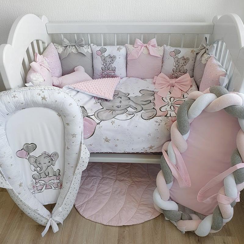 Бортики на ліжечко дівчинці Слоник на Подарунки
