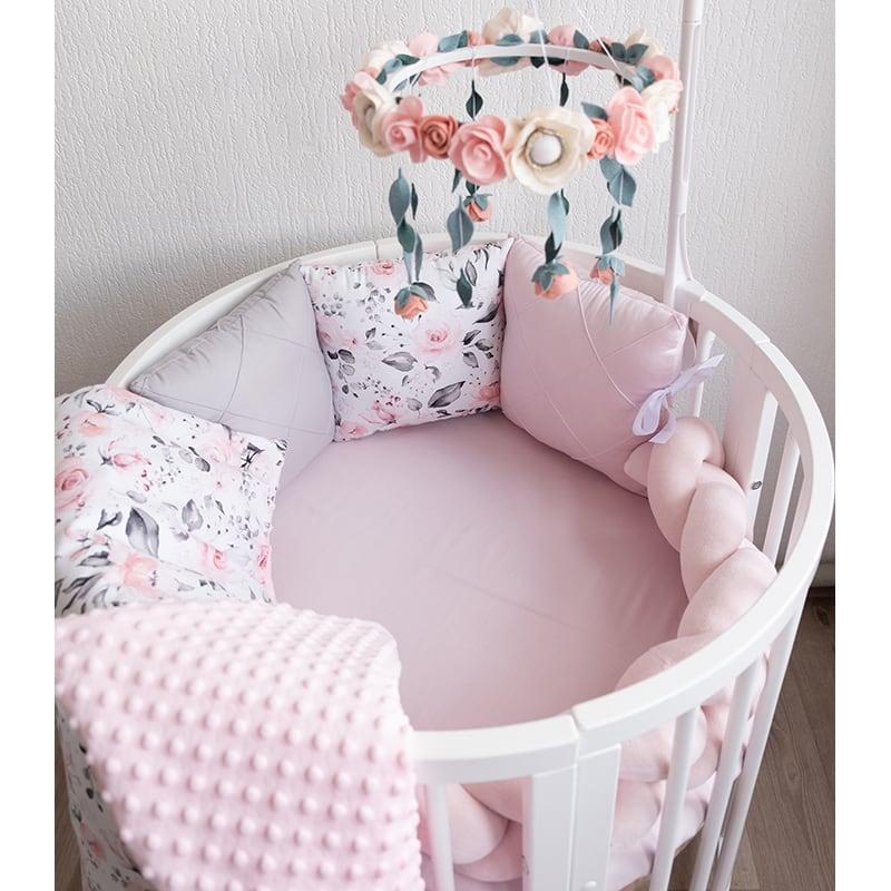 Бортики в круглую кроватку девочке Розовый Веночек