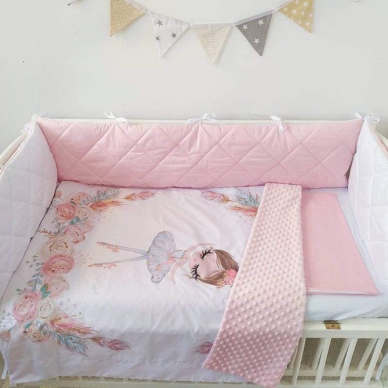 Бортик в кроватку новорожденной девочке Аврора